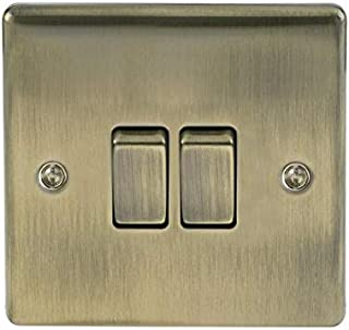 BG Electrical Double Light Switch, Antique Brass, 2-Way, 10AX