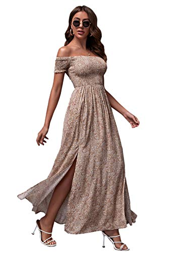 Floerns Women's Boho Floral Print Off Shoulder Split Long A Line Dress Apricot M