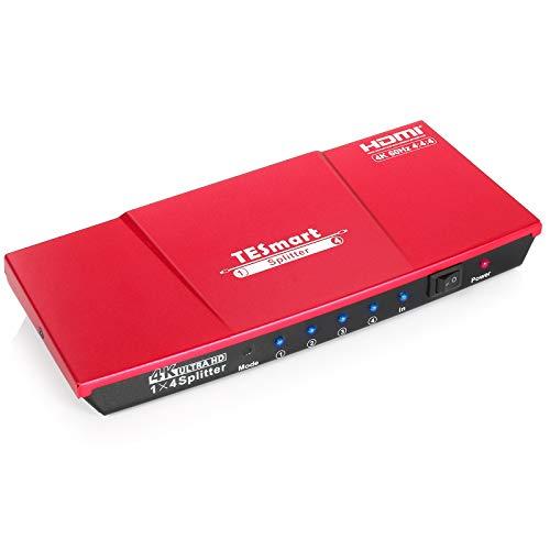 HDMI Splitter 1x4 TESmart Powered 4K HDMI Verteiler 1 in 4 Out Unterstützt HDCP, 4K60Hz, 3D, UHD, 1080P für Xbox, PS4, PS3, Roku, Blu-Ray-Player, Firestick, HDTV-Korallenrot