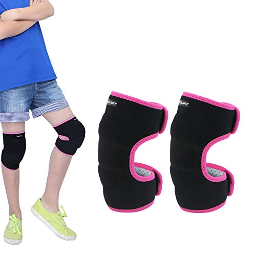 EULANT Kinder Kniebandage, Kinder Dicke Schwamm Knieschoner mit Klettverschluss für Fußball Laufen Tanzen Wrestling Volleyball Basketball MTB Scooter Skateboard Kampfsport, Rose M