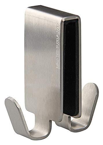 Fackelmann Doppelhaken für Glasduschwand TECNO, Handtuchhalter aus Edelstahl, Kleiderhaken zum Einhängen in die Duschtür (Farbe: Silber), Menge: 1 Stück
