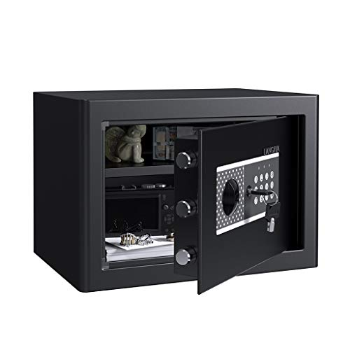 LANGRIA 2-Layer 0.72 Cubic Feet Steel Security Safe Deposit Box with Digital Keypad for Home Office and Hotels to Store Cash Jewelry Passport Guns Includes 2 Manual Override Keys (Black Gray)