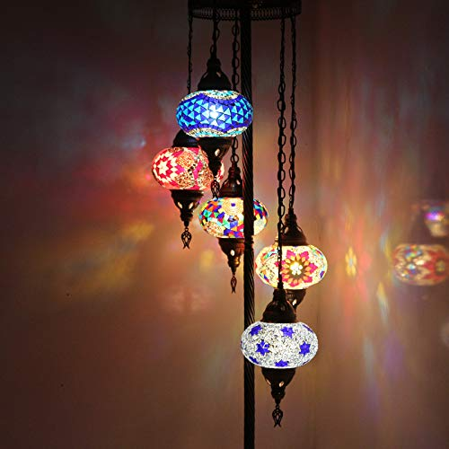 Orientalischer Stil, dekorativ, mehrfarbig, türkisch, marokkanisch, handgefertigt, Mosaik-Stehlampe, 5 Stück