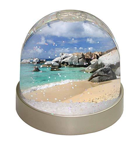 Advanta Tropical Seychellen Strand Foto Snow Globe Schneekugel Strumpffüller Geschenk, Mehrfarbig, 9,2x 9,2x 8cm