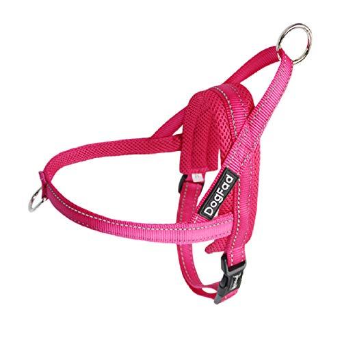 Pridesong Haustier Hundebrustgurt, tragbar, bequem, atmungsaktiv, Hund Outdoor Sportleine Pink L