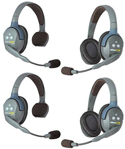 Eartec UL422 UltraLITE Full Duplex Wireless Intercom 2 Way Communication System - 1 ULSM Single-Ear Master Headset, 1 ULSR Single Ear Remote Headset and 2-Pack of ULDR Dual-Ear Remote Headsets
