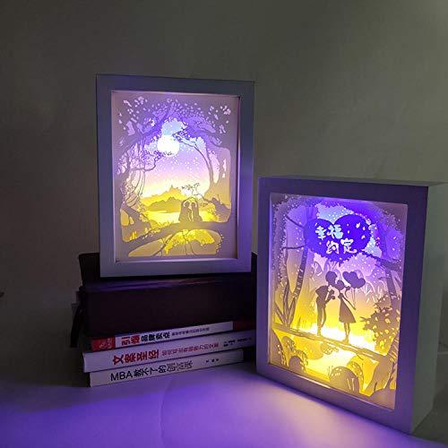 Decoración navideña regalo romántico creativo dormitorio junto a la cama luz y sombra 3d escultura de papel regalo lámpara USB marco de madera producto terminado + interruptor de control remoto
