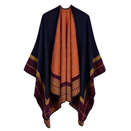ZSZJ Seidenschal Damenstreifen Kaschmir-Capes-Isolierschals Sunshade-Mäntel BIB-Schal. (Color : Navy, Size : One Size)