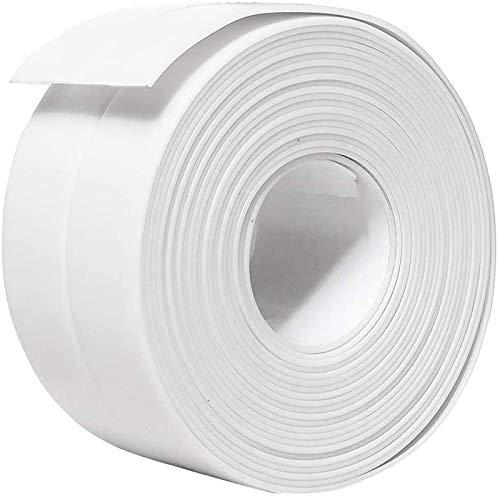コーキングテープPVC自己接着ストリップバスタブバスルームシャワートイレキッチンおよび壁のシーリング11フィートの長さ (38 mm 1パック、白)