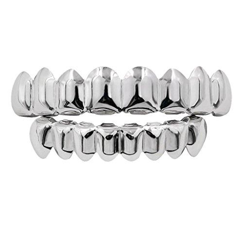 B Baosity 1 Paar Unisex Zähne Kappen mit Silikon Fixierbar & Pinzette Hip Hop-Stil Schmuck - Silber