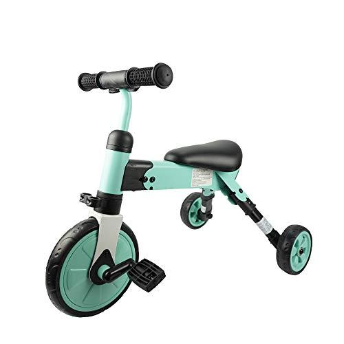 iNFANCiA FELiZ QI Triciclo Transformable, Bici polivalente, Triciclo y Bicicleta Entrenadora con o sin pedales y Carro de Equilibrio Ideal para niños y niñas de 1 a 4 años Practico, ligero y portátil.… (VERDE)