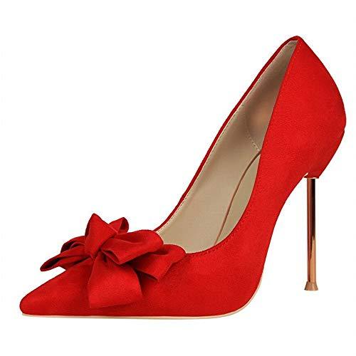 YYQIANG Zapatos de Mujer de tacón de Las Mujeres Dulces de Estilete de tacón Alto señaló los Zapatos de Gamuza Bow (Color : Purple, Size : 39)