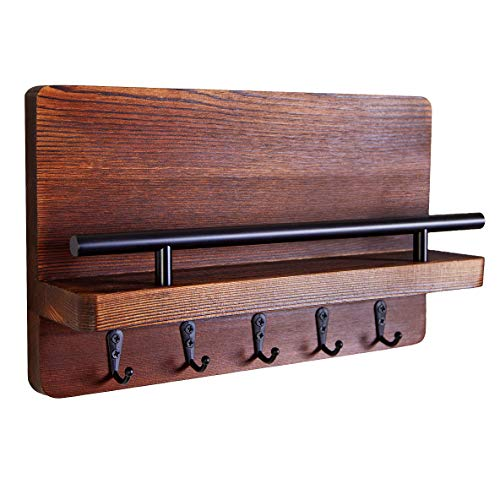 """Ripple Creek Key Holder and Mail Shelf - Decorative Wooden Wall Organizer for Keys, Dog Leash, Letters, Bills - Unique Rustic and Industrial Decor - Perfect for Entryway, Kitchen, Mudroom - 11.75""""x7"""""""