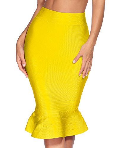 meilun Women's Rayon Bandage Bodycon Mini Skirt (Medium, Yellow ham)