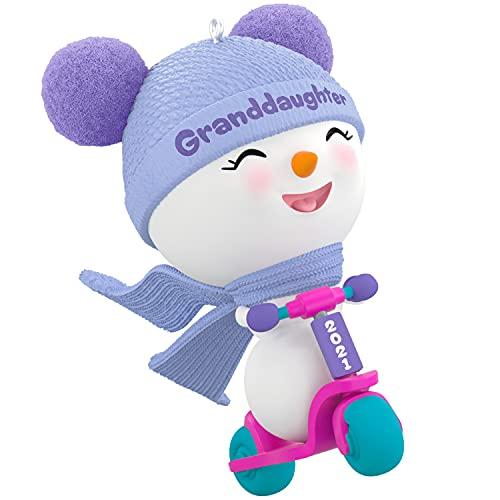 Hallmark Keepsake Christmas Ornament, Year Dated 2021, Granddaughter Snowman on Scooter