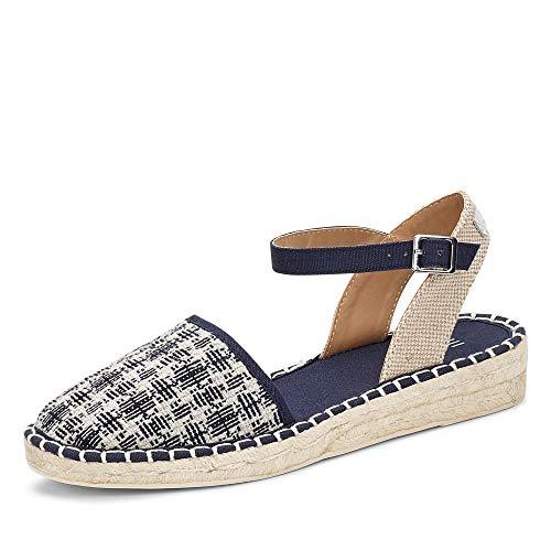 ESPRIT 040EK1W335 400 INES Damen Sportive Sandale aus Textil 25-mm-Keilabsatz, Groesse 41, blau