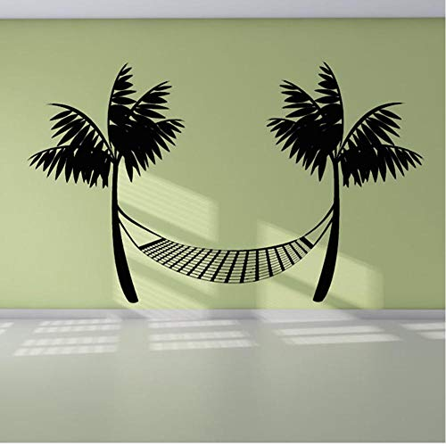 MRQXDP Muursticker Vinyl Duurzaam Zwart Bedrukt Strand Hangmat Muursticker Palmbomen Home Decor 68x44cm Wandaufkleber Wand Slaapzaal Muur