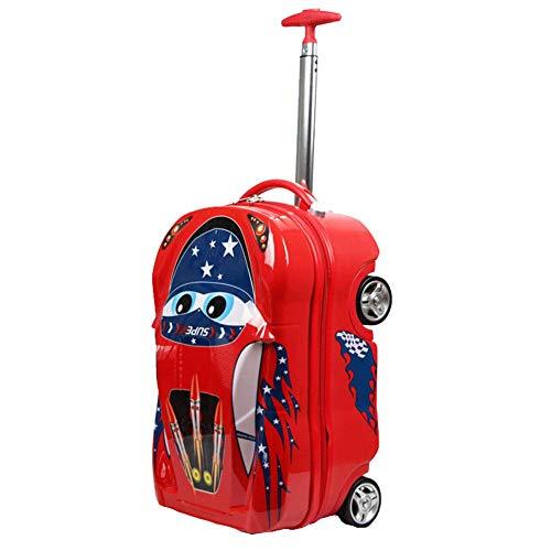 Equipaje infantil, Caricatura para niños Equipaje de lujo con ruedas Trolley Mochila ABS + PC Cabina de equipaje Escuela de 18 pulgadas Alumnos Trolley Car