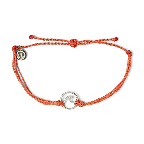 Pura Vida Silver Original Wave Bracelet - 100% Waterproof, Adjustable Band - Coated Brand Charm, Coral