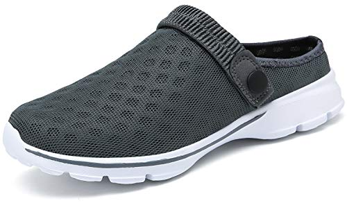 ChayChax Zuecos Mujer Hombre Zapatillas de Playa Respirable Sandalias Verano de Malla Ligeros Antideslizante Clogs Zapatos de Jardin, Gris, 37 EU