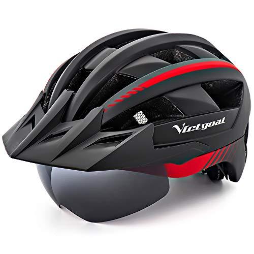 VICTGOAL Fahrradhelm MTB Mountainbike Helm mit abnehmbarem magnetischem Visier Abnehmbarer Sonnenschutzkappe und LED Rücklicht Radhelm Rennradhelm für Erwachsenen Herren Damen (Black Red)