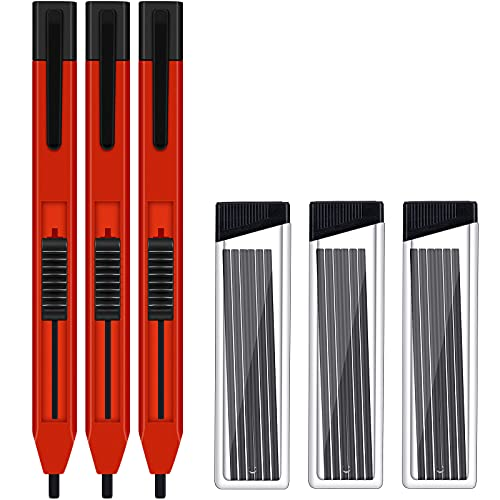 3 Sets Mechanical Carpenter Pencil and Carpenter Pencil Lead Construction Woodwork Pencil Practical Marking tools for Carpenters Drawing Scriber Woodworking Architect