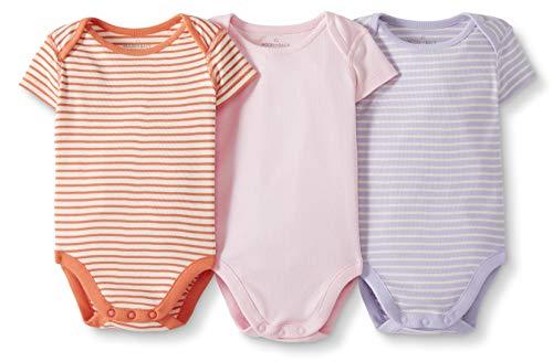 Moon and Back by Hanna Andersson Lot de 3 Bodies à manches courtes en coton bio pour bébés, rose, 3-6 mois (56-67 CM)