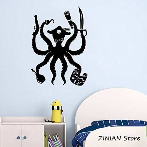 Yaonuli Octopus Pirat muurkunst sticker kinderkamer decoratie avontuur kinderkamer sticker grappige dier muursticker afneembaar