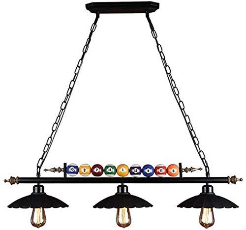GYC Lámpara Colgante Americana Retro de Hierro Forjado, decoración de Billar, lámpara Colgante de 3 Luces para Mesa de Billar, iluminación para Restaurante, Tienda de Ropa, b