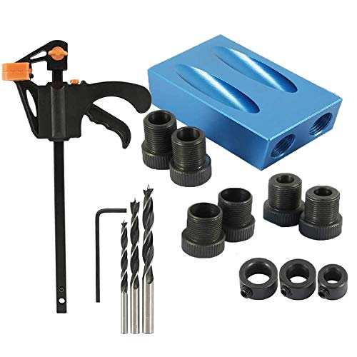 15 Degree Pocket Hole Jig Kit,Woodworking Oblique Drill Guide Set with 6/8/10mm Hole Drive Adapter,Hole Positioner Locator Tool for Woodworking Pocket Hole Screw Jig 15PCS