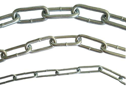 Stahlkette Verzinkt DIN763 – 2mm, 3.5mm oder 4.5mm Stahldurchmesser – 0,5m 1m 3m 5m 25m Meter Meterware – Kette aus Stahl - Dicke und Länge auswählen (1 Meter - 2x22x8mm)