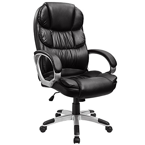 Furmax High Back Office Chair Adjustable Ergonomic Desk Chair with Padded Armrests,Executive PU Leather Swivel Task Chair with Lumbar Support (Black)