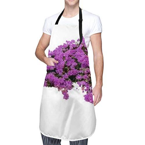 DUKAI Unisex-Schürze, wasserdicht, langlebig, verstellbar, groß, blühend, Strauch, lila, Bougainvillea, Kochschürzen, Grillschürze zum Geschirrspülen, Grill, Restaurantgarten