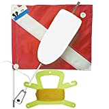 JCS Super Float with Standard 14inch x 18inch Nylon Dive Flag, Line Holder & 100 Feet Poly Line