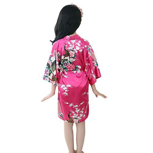 Baby Meisjes Badjas Peuter Kinderen Bloemen Zijde Satijn Dressing Jurk Zachte Slaapmode Nachtkleding Kimono Robes Nachtkleding Kleding Kinderen Badjas Pyjama Huiskleding Beste cadeau voor 1-7 Jaar