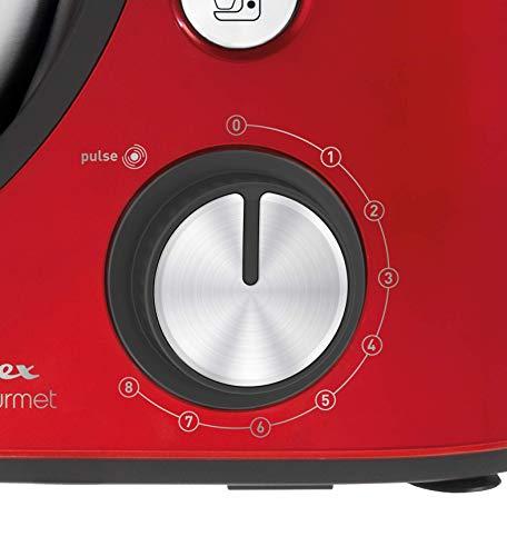 Moulinex-QA512G10-Kuechenmaschine-Masterchef-Gourmet-mit-Mixer-8-Geschwindigkeitsstufen-Pulse-Knethaken-Ruehrbesen-Schneebesen-elektrisch-1100-W-Kueche-Rot