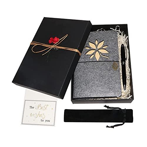 Set de Diario de Cuaderno, A6 Páginas de Hojas Sueltas en Blanco Cuaderno Diario de Viaje Juego de Regalo con Bolígrafo de Metal para Amigos Amantes para Graduación de Cumpleaños,Flower