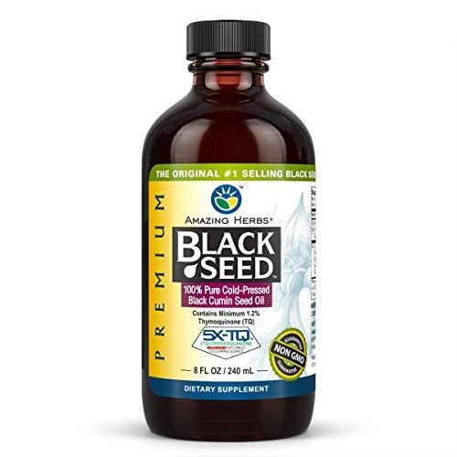 Amazing Herbs Premium Black Seed Oil - Cold Pressed Nigella Sativa Aids in Digestive Health, Immune Support, Brain Function, Joint Mobility, Gluten Free, Non GMO - 8 Fl Oz