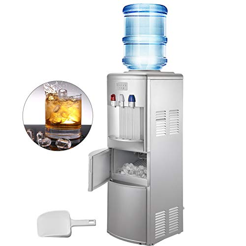 VBENLEM Water Cooler Dispenser with Ice Maker Hot and Cold Top Loading 3 to 5 Gallon Bottle for Home Office Use, 2 In 1, Silver