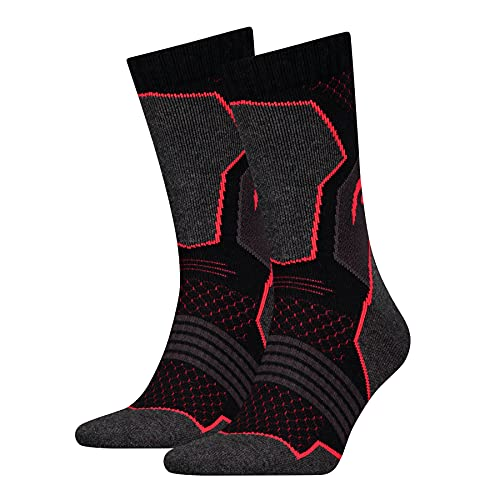 Head Men's Hiking Crew 2P Socks, Black/Red, Size 043 (Pack of 2)