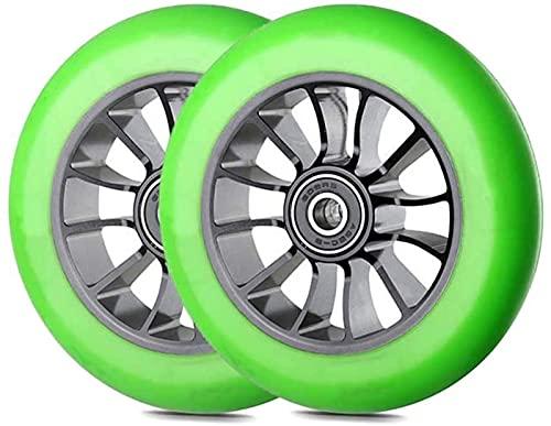 Wheels Ruedas De Reemplazo De 110 Mm, Ruedas De Reemplazo De Scooter, Ruedas De Scooter Pro Stunt 110 Mm De Ruedas De Reemplazo con ABEC-9Bearing-2 PCS(Color:Verde)
