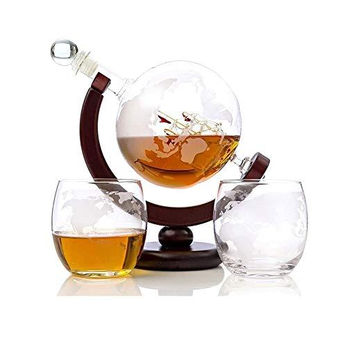 GAOTTINGSD Botellero Globo Whisky La Jarra del Grabado del Globo del Mundo De La Jarra For El Vino Tinto, Licor, Bourbon, Vodka, con 2 Copas, Home Bar Accesorios For Hombres