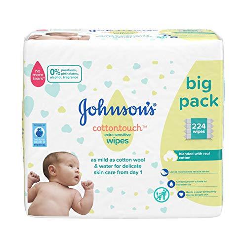 JOHNSON\'S Cottontouch - Toallitas extra sensibles 224 ct (56 x 4) - mezcladas con algodón real - pH equilibrado para pieles delicadas