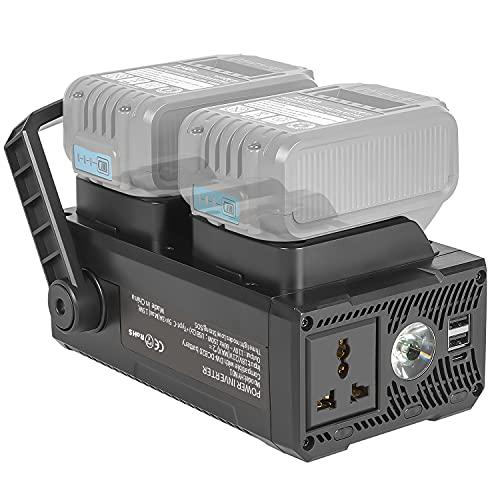 TOMAPEX 150W Power Inverter for Dewalt 20V Battery, Battery Charger Adapter with 110V AC Outlets, Dual USB Ports, Type-C Port Compatible with Dewalt DCB207 DCB206 DCB205 DCB204 DCB203 DCB201 DCB200