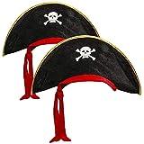 com-four 2x sombrero de pirata con calavera - sombrero para niños y adultos para Mardi Gras, carnaval, halloween (02 piezas - pirata negro/rojo/dorado)