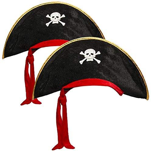 com-four® 2x Piratenhut mit Totenschädel - Hut für Kinder und Erwachsene - Kostüm für Fasching, Karneval, Halloween (02 Stück - Pirat schwarz/rot/goldfarben)
