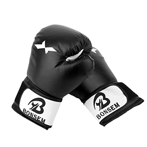 ERHUAN 1 Paar Trainingsboxhandschuhe Boxhandschuhe Sanda Karate Sandsack Taekwondo Fighting Handschutzhandschuhe,Schwarz,Russische Föderation