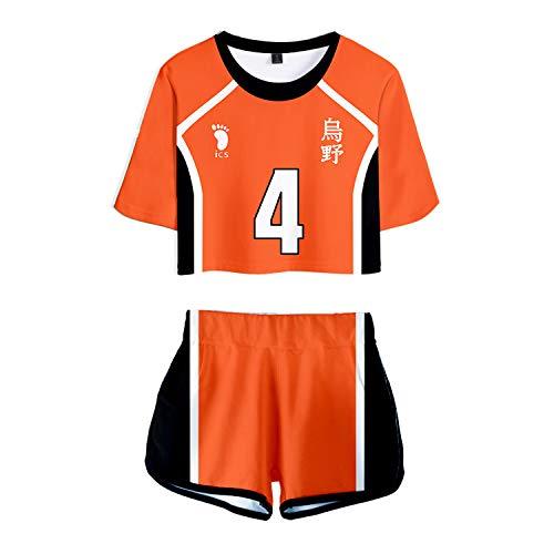 RENDONG Haikyuu Cosplay Kostüm T-Shirt Volleyball Schuluniform Feste Kurze Hülsen + Shorts Beiläufige Sport Jogging Kurzarm 2 Stück Top Und Kurze Hosen Sets Uniform Cheerleading,4,M