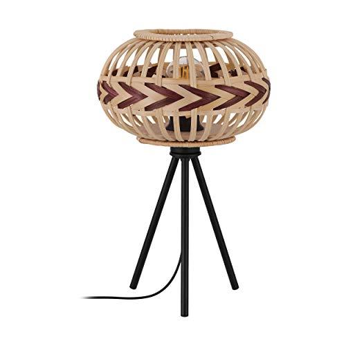 EGLO Lámpara de mesa Dondarrion, 1 lámpara de mesa vintage, escandinava, boho, lámpara de noche de acero, madera, lámpara de salón en negro, natural, rojo vino, lámpara con interruptor, casquillo E27
