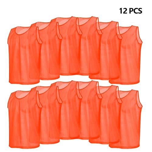 Rehomy Fußball Trikots Westen Mesh Scrimmage Training atmungsaktiv für Kinder Kinder 12er Pack (orange)